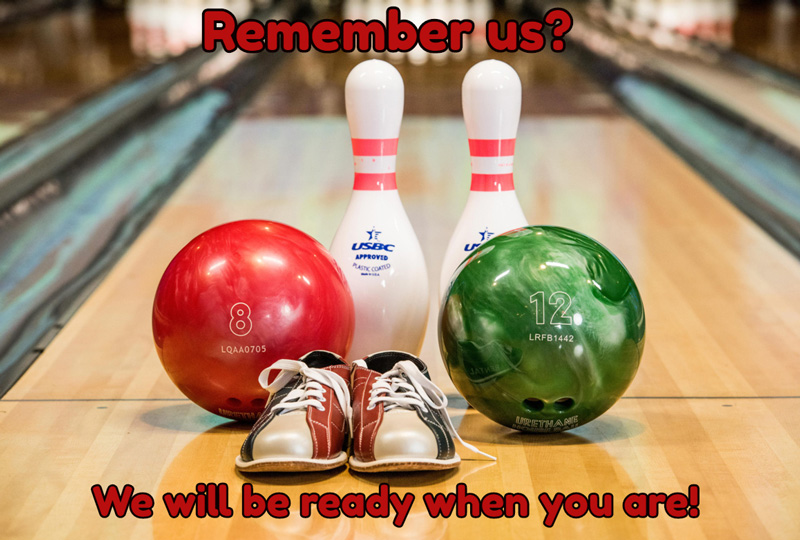 ready to bowl ball and pins